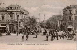 Cpa BULGARIE/BULGARIA  SOFIA/SOPHIA   Rue Marie Louise , Très Animée ,charrettes à Cheval, Rare - Bulgaria