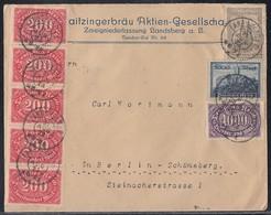 DR Brief Mif Minr.5x 248,255,261,262 Landsberg A. L. 31.8.23 - Briefe U. Dokumente