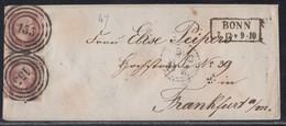 Preussen Brief Mef Minr.2x 6 R2 Bonn 7.12. Nr.-St.155 Gel. Nach Frankfurt - Preussen