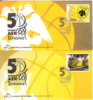 Greece - Set Of 2 FDCs, AEK BC/50 Years Cup Of European Cup Winners 1968-2018, Tirage 5000, 03/18, With Medal, Unused - Basket-ball