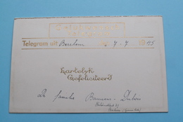 GELUKWENSCH TELEGRAM (Bauwens-Dubois > Berchem) Berchem Anno 7-7-1945 Belgique - Belgium ! - Anuncios