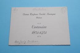 Usines RAGHENO Societé Anonyme MALINES Centenaire 1851 - 1951 ( 26 Mei Feestmaal > Merodestraat Mechelen ) ! - Menus