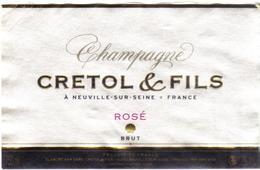 Etiquette De Champagne  Crétol Rosé - Neuville Sur Seine - Champagne