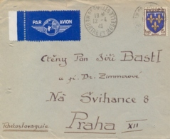 France 1946 Cover To Czechoslovakia With 15 Fr. Arm Of Orleans - Storia Postale
