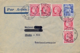 France 1947 Cover To Czechoslovakia With 5 X 1 Fr. Ceres + 10 Fr. Marianne Type Gandon - Covers & Documents