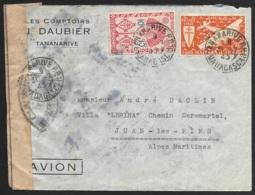 Madagascar-Perforés-Ancoper J.D 3-Enveloppe De Tananarive-Controle Postal Militaire - Perforadas
