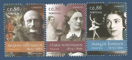 Portugal   2019  , Figuras Mundiais - Clara Schumann - Jacques Offenbach - Margot Fonteyn - Postfrisch / MNH / (**) - 1910-... République