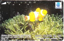 INDONESIA - Clownfish & Anemone, Telkom Telecard 100 Units, 05/93, Used - Fish