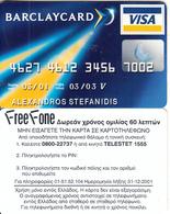 GREECE - Barclaycard Visa, Barclays Bank, Free Fone Promotion Prepaid Card, Tirage 5000, Exp.datre 31/12/01, Sample - Greece