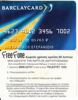 GREECE - Barclaycard, Barclays Bank, Free Fone Promotion Prepaid Card, Tirage 5000, Exp.datre 31/12/01, Sample - Greece