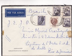 1950'S COVER AIRMAIL CIRCULATED ITALY TO BRAZIL - BLEUP - 1946-.. République