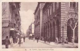 1934 TUNEZ- RUE D'ITALIE ET LA POSTE. VOYAGEE- BLEUP - Tunisie