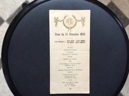 MENU MARIAGE Diner Du 31 Decembre 1938 - Menus