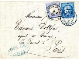 Affranchissement Mixte Franco-allemand De ZABERN IM ELSASS. Cérès 25 C Bleu + 2 Groschen Bleu, Daté Du 02/04/1872 - Alsace-Lorraine