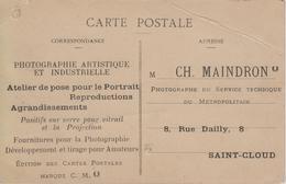 CPA Publicité - Photographie Artistique Et Industrielle - Maindron Photographe Du Métropolitain Sur CPA Saint-Cloud - Advertising