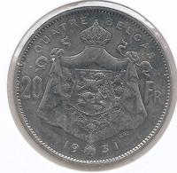 ALBERT I * 20 Frank / 4 Belga 1931 Frans  Pos.A * Z.Fraai / Prachtig * Nr 9916 - 1909-1934: Albert I