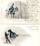 Militaria - Lot De 2 Cartes - Dragon 1870 - Chasseurs à Cheval 1812 - Uniformes
