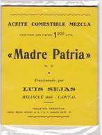 "1940'S LABEL ETIQUETA FOOD- ACEITE COMESTIBLE MEZCLA ""MADRE PATRIA"", INDUSTRIA ARGENTINA-TBE- BLEUP - Altri"