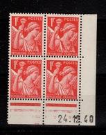 Coin Daté - Iris YV 433 N** Du 24.12.40 , Tirage De Noel - Dated Corners