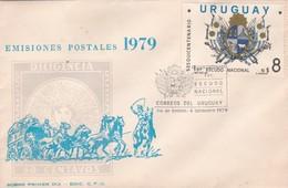 1979 FDC COVER URUGUAY- SESQUICENTENARIO 1ER ESCUDO NACIONAL- BLEUP - Uruguay