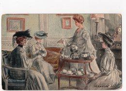 231 - ILLUSTRATEUR - Henry Tenré - Jolies Dames Prennent Le Thé/café -   *Raphael TUCK  Oilette Série CRAYON  N° 2747* - Illustrateurs & Photographes