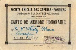 VP15.416 - Sté Amicale Des Sapeurs - Pompiers - Subdivision De LUCENAY - LES - AIX  - Carte De Membre M.FRETY à COSSAYE - Cartes