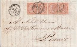 104 - Lettera Con Testo Del 1865 Da Urbino A Pesaro Con Striscia Di 4 Cent. 10 - Ocra- Tir Londra - Marcophilie