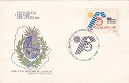 1987 FDC COVER URUGUAY- 75 AÑOS BANCHO HIPOTECARIO DEL URUGUAY- BLEUP - Uruguay
