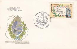 1988 FDC COVER URUGUAY- CORREO MENSAJERO DE PAZ- BLEUP - Poste