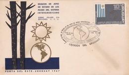 1967 FDC COVER URUGUAY- REUNION DE JEFES DE ESTADO DE LOS PAISES DEL SISTEMA INTERAMERICANO- BLEUP - Uruguay