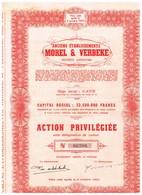 Titre Ancien - Anciens Etablissements Morel & Verbeke -Société Anonyme - Rayée De La Cote - - Textiel