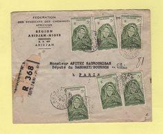Cote D'Ivoire - Abidjan - 25 Mai 1951 - Recommande Destination France - Briefe U. Dokumente