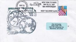 1997 SPECIAL COVER FIRST FLIGHT NEW YORK TO PARIS 70TH ANNIVERSARY- BLEUP - Etats-Unis