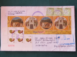 Philippines 2019 Cover To Nicaragua - Waterfalls - Coconut Fruits - Flowers - Philippinen