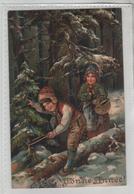 Bonne Année Deux Enfants Carte Gaufrée écrite à Lacour à Thizy - Nouvel An