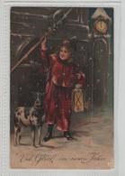 Viel Gluck Im Neuen Jahre 1910 Enfant Et Son Chien  Carte Gaufrée Carte écrite à Witschardt à Coulommiers - Nouvel An