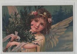 Joyeux Noel Fillette Ange Carte Gaufrée Neuve - Non Classés