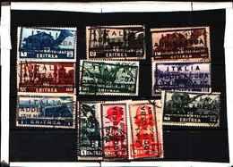 """5845BIS ) Eritrea-Serie Pittorica -  Francobolli Con Soprastampa """"ITALIA ADDIS ABEBA 1936 MAGGIO A XIV-SERIE-USATA - Eritrea"""
