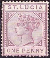 ST LUCIA 1886 QV 1d Dull Mauve Die I SG42 MH - St.Lucia (...-1978)