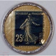 Timbre Monnaie 25 Centimes Crédit Lyonnais Bleu - France