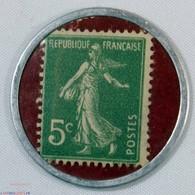 N° 137 , TIMBRE MONNAIE Huiles Pour Autos SPIDOLEINE , 5c Semeuse - France