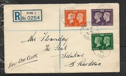 Great Britain, 1940, 1/2d, 2d, 3d, FDC HIGH STREET RYDE I.O.W.  6 MY 40 > SELUKWE S.Rhodesia - FDC