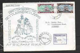 S.Africa, 1962 , 1820 British Settlers Monument, Registered GRAHAMSTOWN 20 VIII 62 - FDC