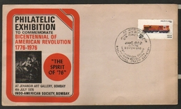 India 1976  Bicentennial Of American Revolution  Philatelic Exhibition  Bombay Special Cover # 19139  D Inde  Indien - India