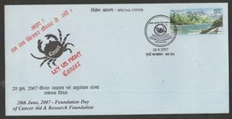 India 2007  Cancer Aid & Research Foundation  Mumbai Special Cover # 19122  D Inde  Indien - India