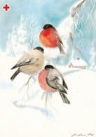Postal Stationery - Winter Scene - Landscape - Birds - Bullfinches - Red Cross 1990 - Suomi Finland - Postage Paid - Finlande