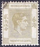 HONG KONG 1946 25c Pale Yellow-Olive SG150 Used - Hong Kong (...-1997)