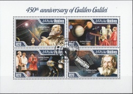 Maldives 2014 YT. 4457-60 Galileo Galilei Anniversary Telescopio Papa Satelliti Perf. CTO - Astronomia
