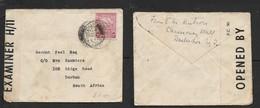 Barbados, 2d, Cover, BARBADOS 28 III -- > DURBAN (S.Africa), Boer War Censor Label - Barbados (...-1966)
