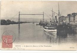 ROUEN . LE QUAI DE LA BOURSE ET LE PONT TRANSBORDEUR . CARTE AFFR SUR RECTO - Rouen